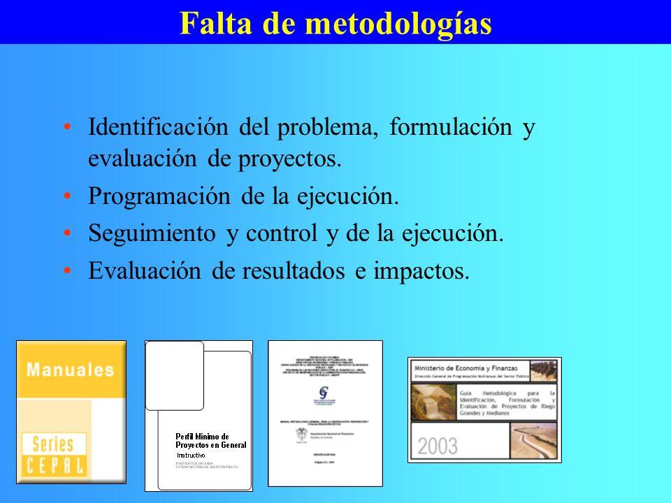 Falta de metodologías Identificación del problema, formulación y evaluación de proyectos. Programación de la ejecución. Seguimiento y control y de la