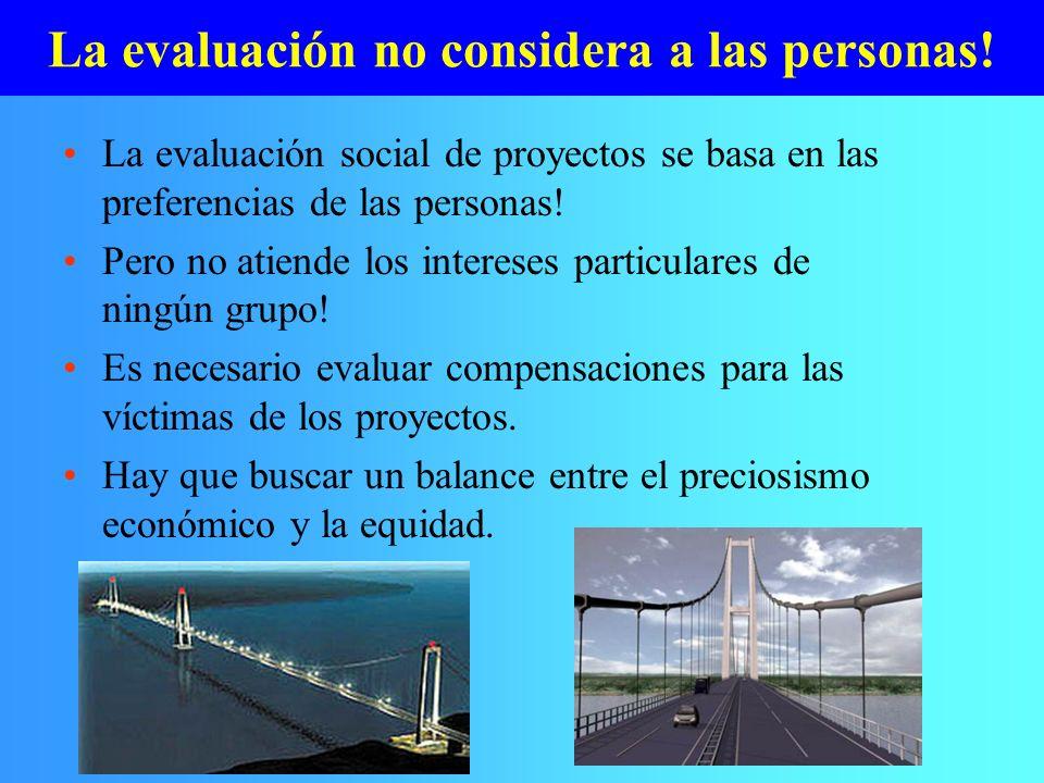 La evaluación no considera a las personas! La evaluación social de proyectos se basa en las preferencias de las personas! Pero no atiende los interese