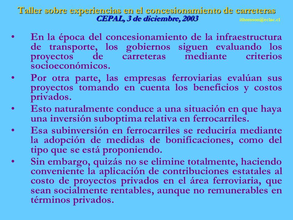 Taller sobre experiencias en el concesionamiento de carreteras CEPAL, 3 de diciembre, 2003 En la época del concesionamiento de la infraestructura de transporte, los gobiernos siguen evaluando los proyectos de carreteras mediante criterios socioeconómicos.