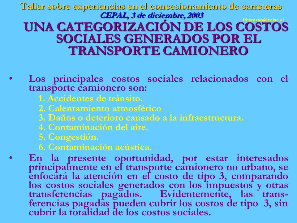 Taller sobre experiencias en el concesionamiento de carreteras CEPAL, 3 de diciembre, 2003 UNA CATEGORIZACIÓN DE LOS COSTOS SOCIALES GENERADOS POR EL TRANSPORTE CAMIONERO UNA CATEGORIZACIÓN DE LOS COSTOS SOCIALES GENERADOS POR EL TRANSPORTE CAMIONERO Los principales costos sociales relacionados con el transporte camionero son: 1.