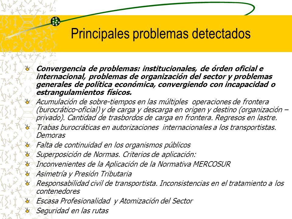 Principales problemas detectados Convergencia de problemas: institucionales, de órden oficial e internacional, problemas de organización del sector y
