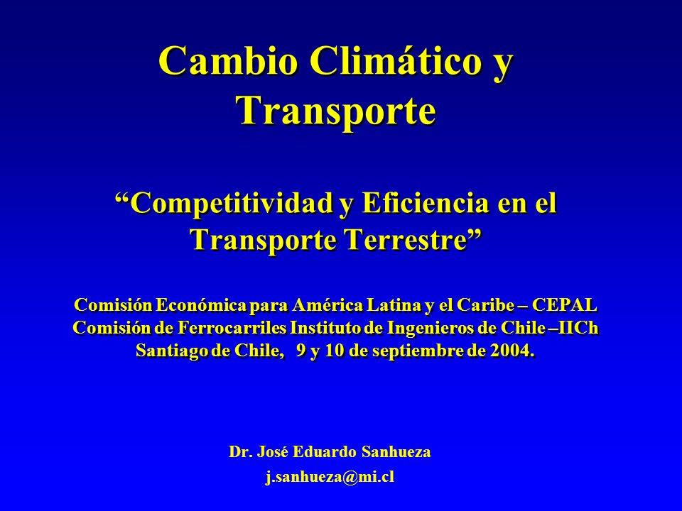 Cambio Climático y Transporte Competitividad y Eficiencia en el Transporte Terrestre Comisión Económica para América Latina y el Caribe – CEPAL Comisión de Ferrocarriles Instituto de Ingenieros de Chile –IICh Santiago de Chile, 9 y 10 de septiembre de 2004.