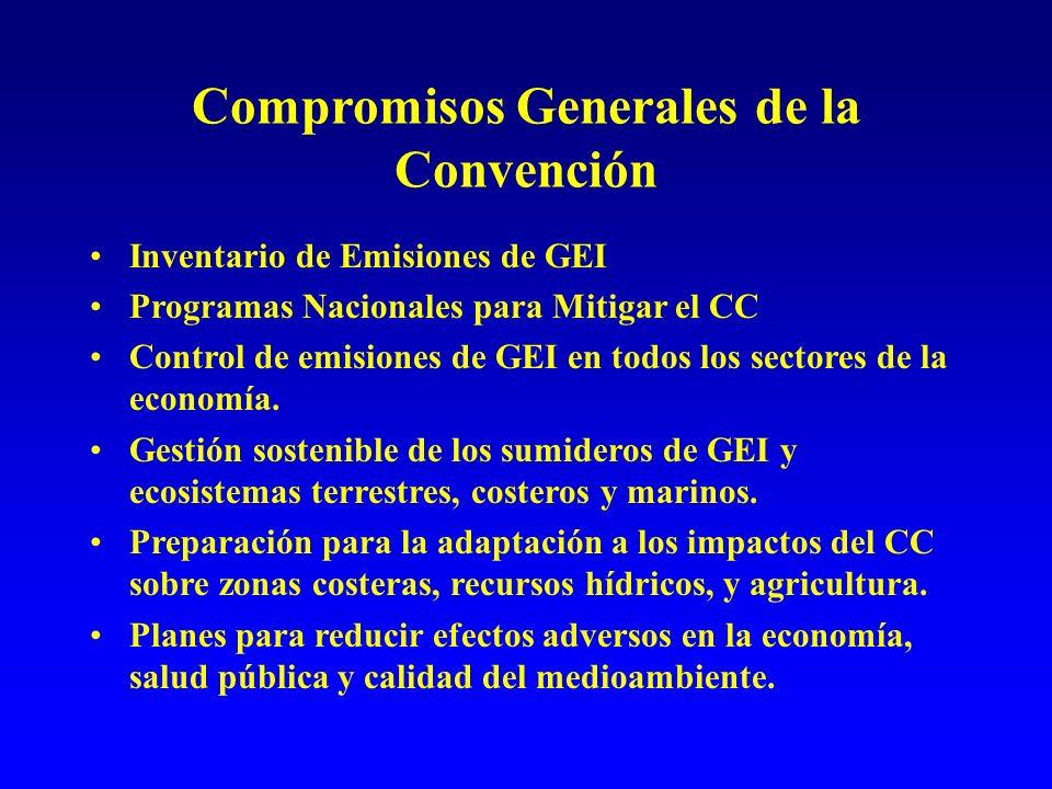 Compromisos Generales de la Convención Inventario de Emisiones de GEI Programas Nacionales para Mitigar el CC Control de emisiones de GEI en todos los sectores de la economía.