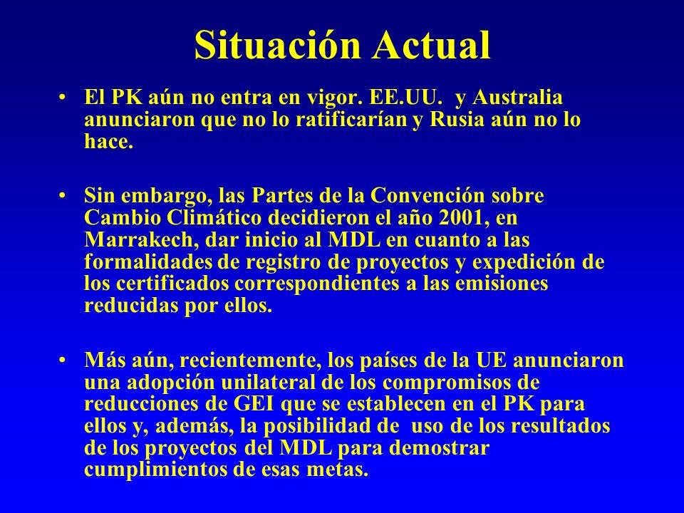 Situación Actual El PK aún no entra en vigor. EE.UU.