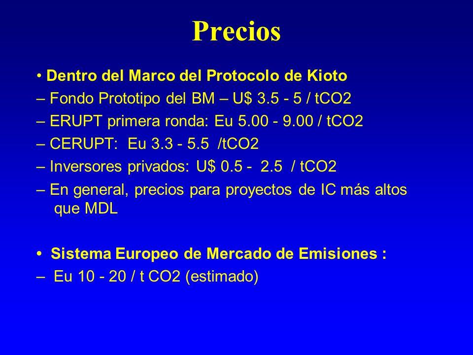 Precios Dentro del Marco del Protocolo de Kioto – Fondo Prototipo del BM – U$ 3.5 - 5 / tCO2 – ERUPT primera ronda: Eu 5.00 - 9.00 / tCO2 – CERUPT: Eu 3.3 - 5.5 /tCO2 – Inversores privados: U$ 0.5 - 2.5 / tCO2 – En general, precios para proyectos de IC más altos que MDL Sistema Europeo de Mercado de Emisiones : – Eu 10 - 20 / t CO2 (estimado)