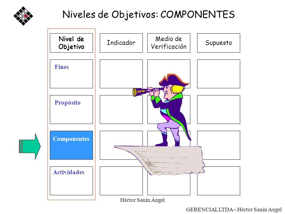 Héctor Sanín Ángel Medio de Verificación SupuestoIndicador Fines Propósito Componentes Actividades Niveles de Objetivos: COMPONENTES Nivel de Objetivo