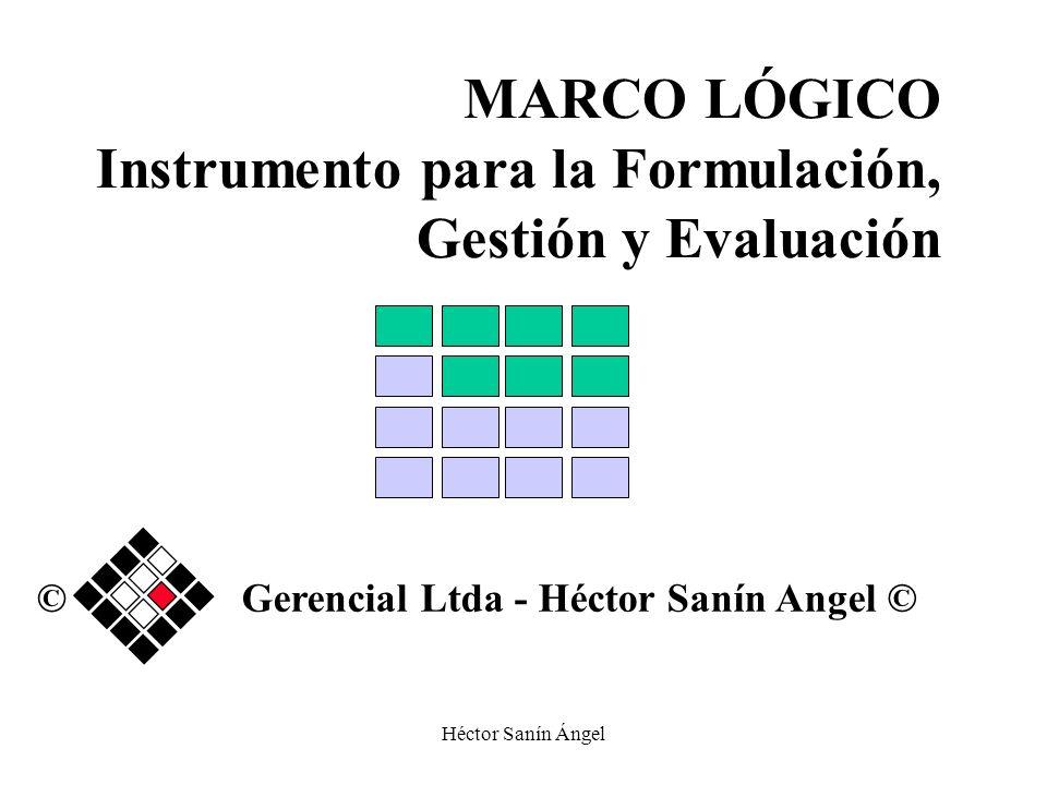 Héctor Sanín Ángel MARCO LÓGICO Instrumento para la Formulación, Gestión y Evaluación Gerencial Ltda - Héctor Sanín Angel © ©