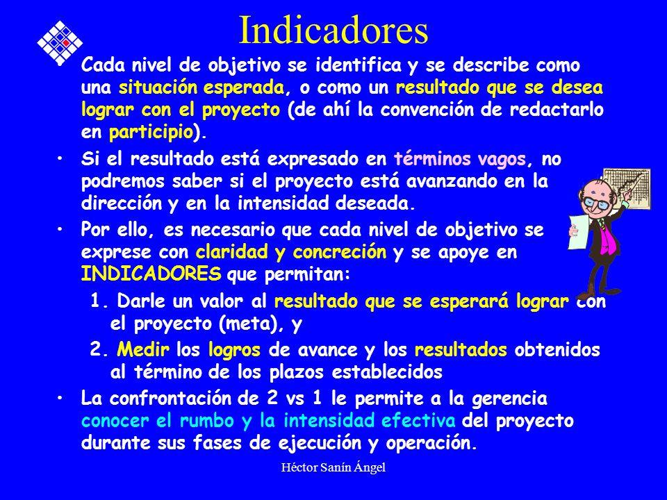 Héctor Sanín Ángel Indicadores Cada nivel de objetivo se identifica y se describe como una situación esperada, o como un resultado que se desea lograr