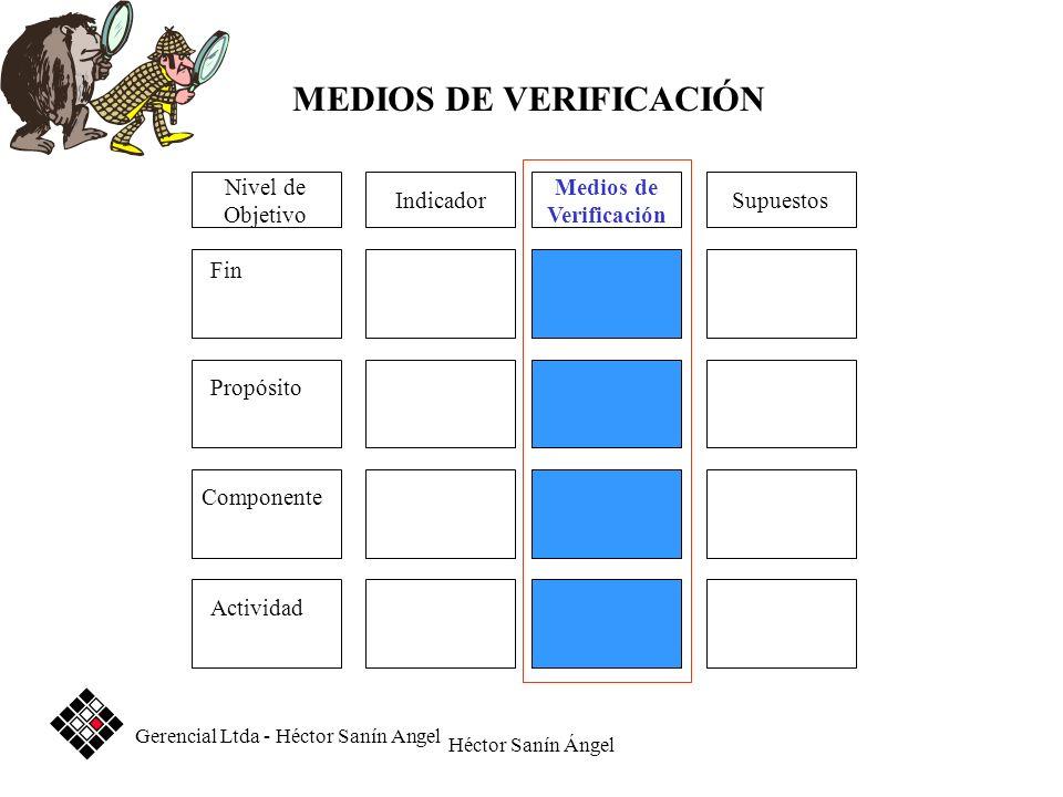Héctor Sanín Ángel Medios de Verificación SupuestosIndicador Fin Propósito Componente Actividad Nivel de Objetivo MEDIOS DE VERIFICACIÓN Gerencial Ltd