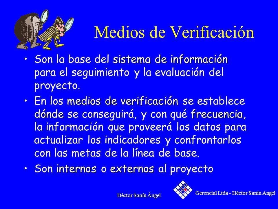 Héctor Sanín Ángel Medios de Verificación sistema de informaciónSon la base del sistema de información para el seguimiento y la evaluación del proyect