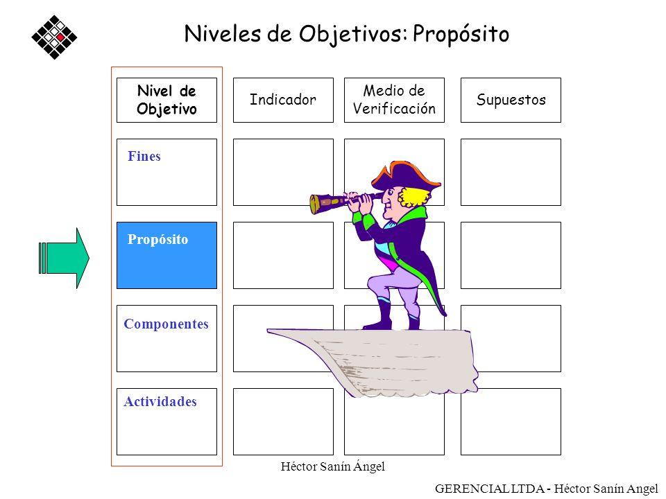 Héctor Sanín Ángel Medio de Verificación SupuestosIndicador Fines Propósito Componentes Actividades Niveles de Objetivos: Propósito Nivel de Objetivo