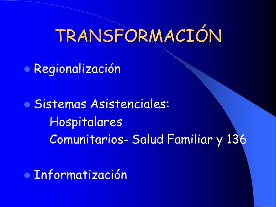 TRANSFORMACIÓN Regionalización Sistemas Asistenciales: Hospitalares Comunitarios- Salud Familiar y 136 Informatización