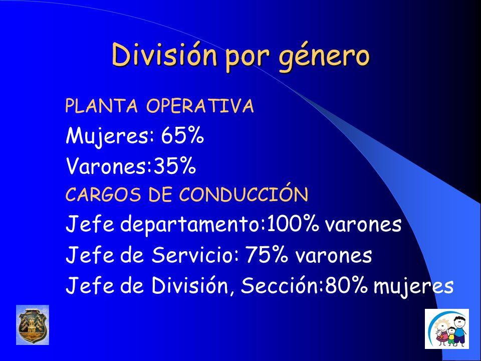 División por género PLANTA OPERATIVA Mujeres: 65% Varones:35% CARGOS DE CONDUCCIÓN Jefe departamento:100% varones Jefe de Servicio: 75% varones Jefe d