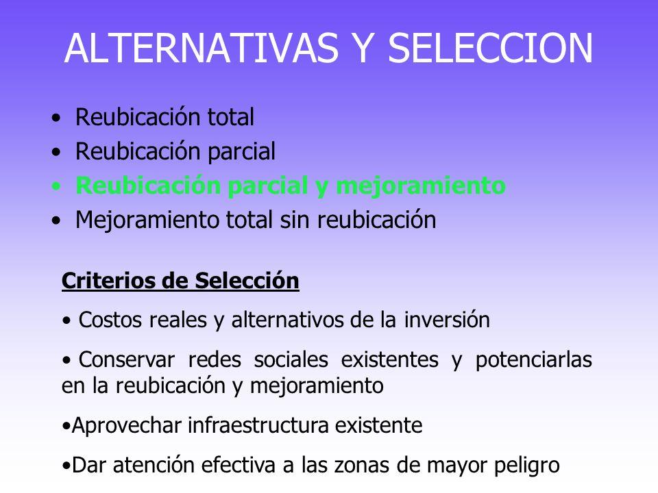 ALTERNATIVAS Y SELECCION Reubicación total Reubicación parcial Reubicación parcial y mejoramiento Mejoramiento total sin reubicación Criterios de Sele