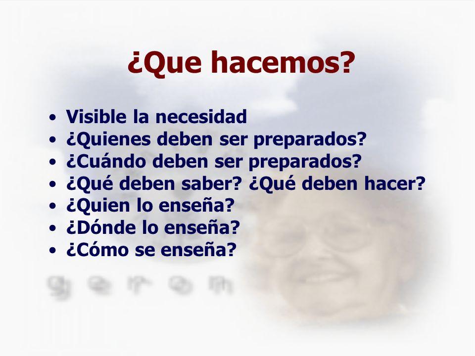 ¿Que hacemos? Visible la necesidad ¿Quienes deben ser preparados? ¿Cuándo deben ser preparados? ¿Qué deben saber? ¿Qué deben hacer? ¿Quien lo enseña?