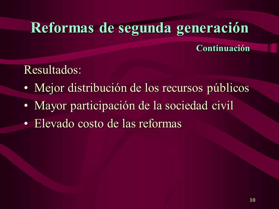 10 Reformas de segunda generación Continuación Resultados: Mejor distribución de los recursos públicosMejor distribución de los recursos públicos Mayo