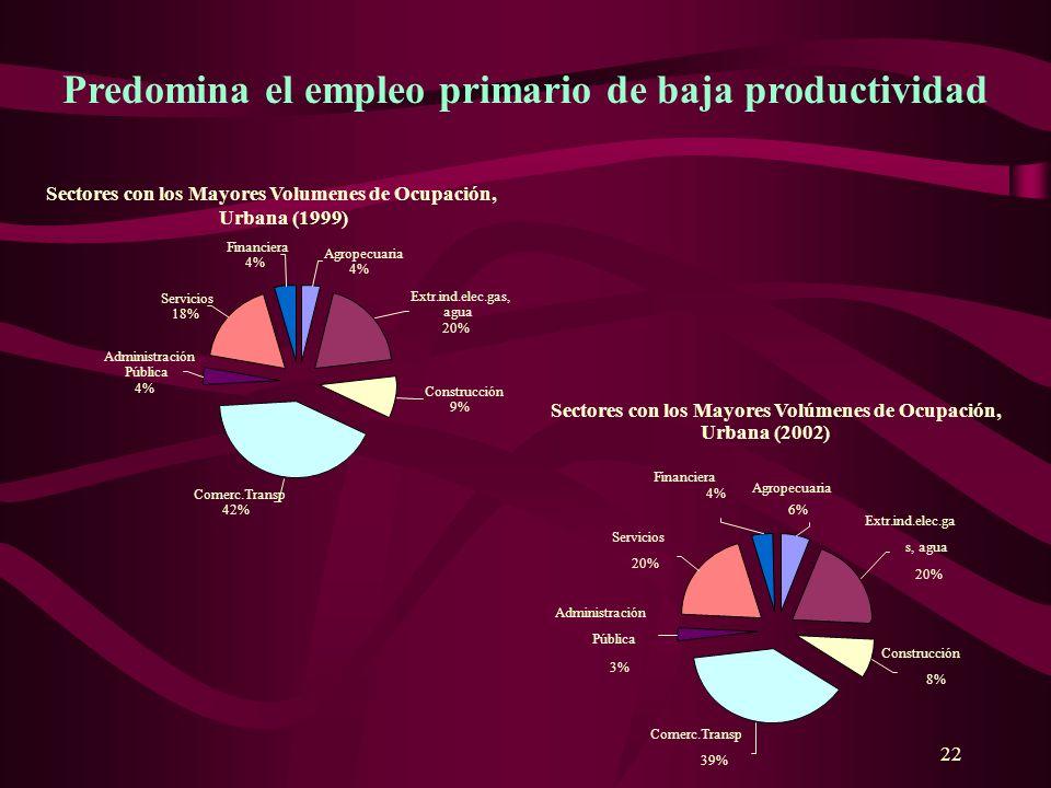 22 Predomina el empleo primario de baja productividad Sectores con los Mayores Volúmenes de Ocupación, Urbana (2002) Financiera 4% Servicios 20% Admin