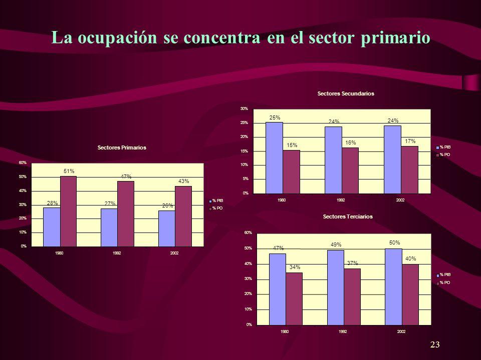 23 Sectores Primarios 28% 27% 26% 51% 47% 43% 0% 10% 20% 30% 40% 50% 60% 198019922002 % PIB % PO Sectores Secundarios 25% 24% 15% 16% 17% 0% 5% 10% 15