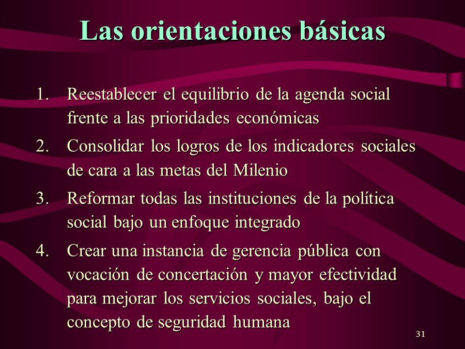31 Las orientaciones básicas 1.Reestablecer el equilibrio de la agenda social frente a las prioridades económicas 2.Consolidar los logros de los indic