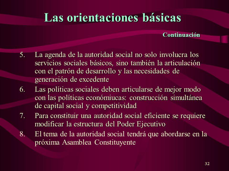 32 5.La agenda de la autoridad social no solo involucra los servicios sociales básicos, sino también la articulación con el patrón de desarrollo y las