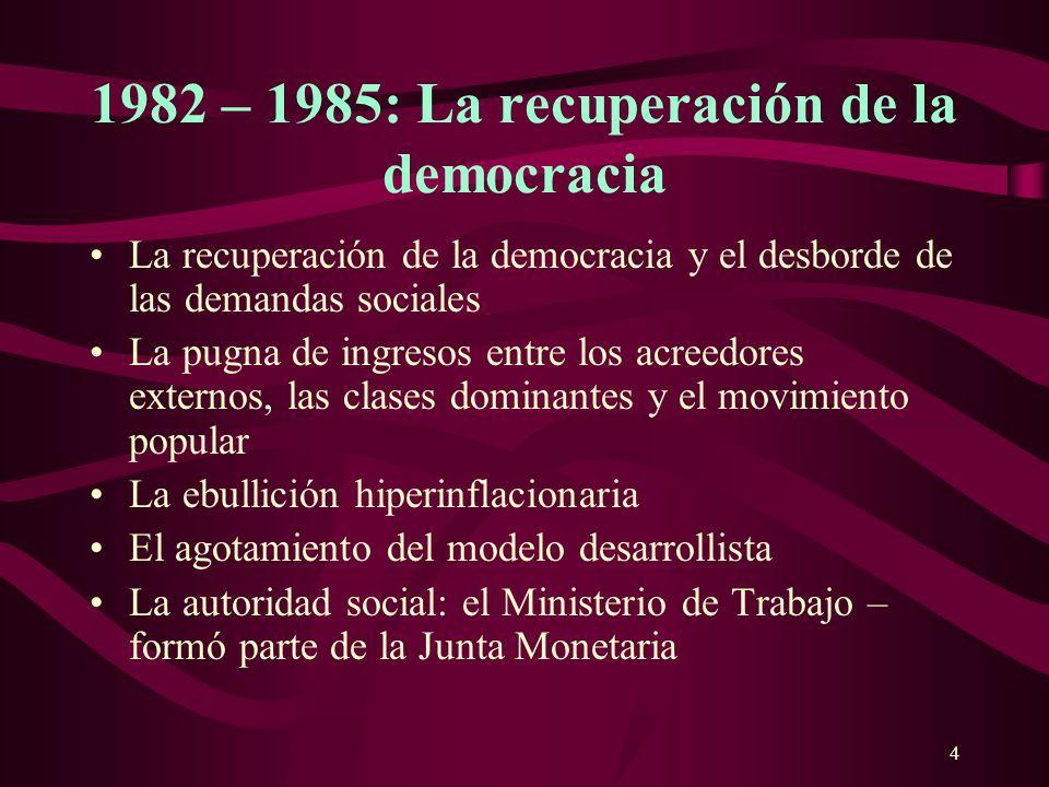 4 1982 – 1985: La recuperación de la democracia La recuperación de la democracia y el desborde de las demandas sociales La pugna de ingresos entre los