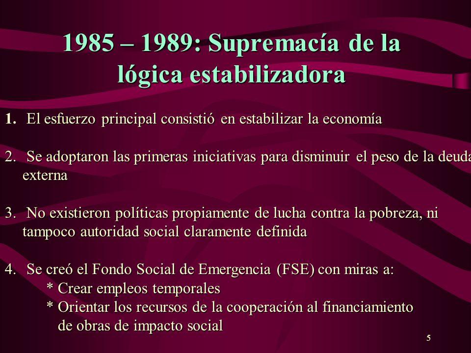 6 1989 – 1993: Focalización de políticasy acciones 1989 – 1993: Focalización de políticas y acciones Se aprueba la Estrategia Social Boliviana 1.