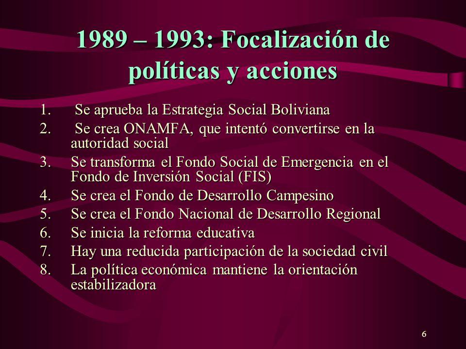 6 1989 – 1993: Focalización de políticasy acciones 1989 – 1993: Focalización de políticas y acciones Se aprueba la Estrategia Social Boliviana 1. Se a