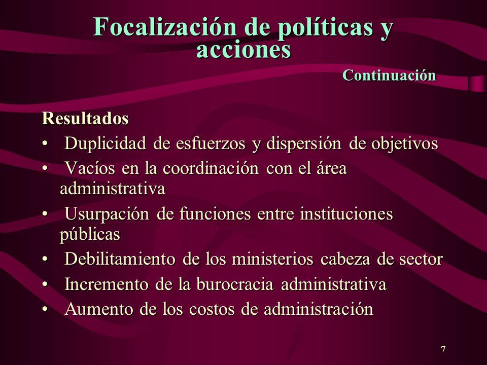 7 Focalización depolíticasy acciones Continuación Focalización de políticas y acciones Continuación Resultados Duplicidad de esfuerzos y dispersión de