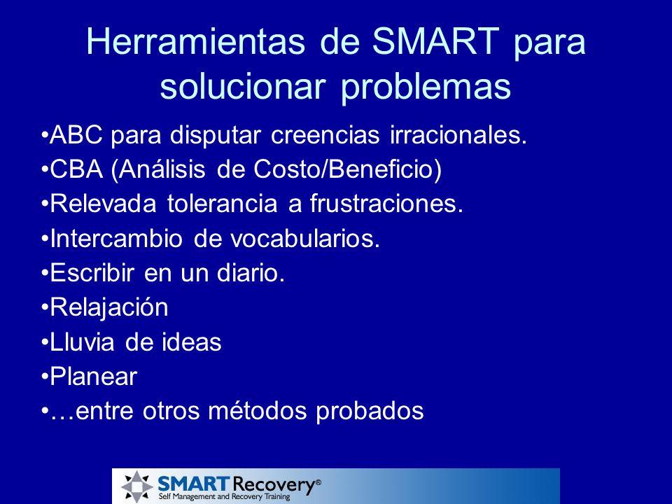 Herramientas de SMART para solucionar problemas ABC para disputar creencias irracionales. CBA (Análisis de Costo/Beneficio) Relevada tolerancia a frus