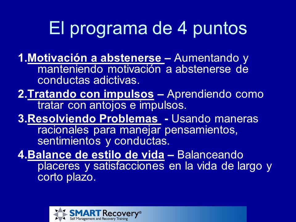 El programa de 4 puntos 1.Motivación a abstenerse – Aumentando y manteniendo motivación a abstenerse de conductas adictivas. 2.Tratando con impulsos –