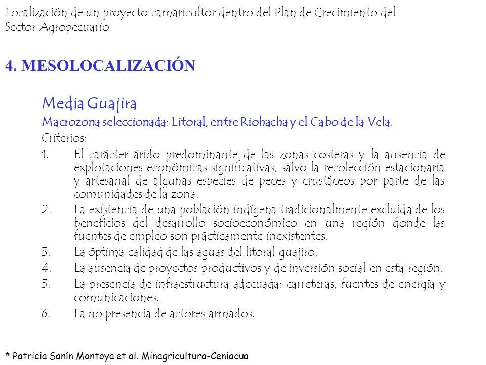 Media Guajira Macrozona seleccionada: Litoral, entre Riohacha y el Cabo de la Vela. Criterios: 1.El carácter árido predominante de las zonas costeras