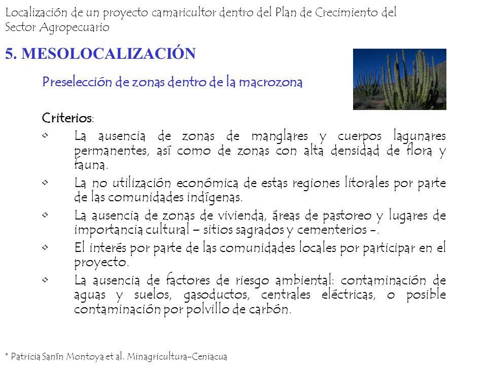 Preselección de zonas dentro de la macrozona Criterios Criterios: La ausencia de zonas de manglares y cuerpos lagunares permanentes, así como de zonas