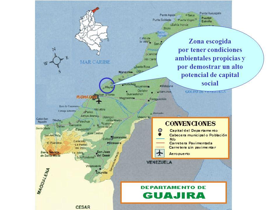 Zona escogida por tener condiciones ambientales propicias y por demostrar un alto potencial de capital social