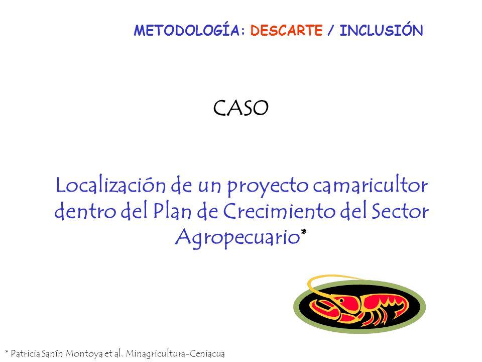 CASO Localización de un proyecto camaricultor dentro del Plan de Crecimiento del Sector Agropecuario* * Patricia Sanín Montoya et al. Minagricultura-C