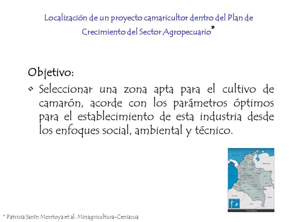 Localización de un proyecto camaricultor dentro del Plan de Crecimiento del Sector Agropecuario * Objetivo: Seleccionar una zona apta para el cultivo