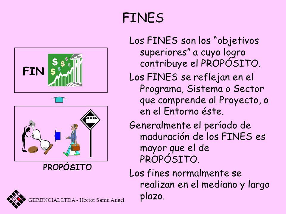 FINES Los FINES son los objetivos superiores a cuyo logro contribuye el PROPÓSITO. Los FINES se reflejan en el Programa, Sistema o Sector que comprend