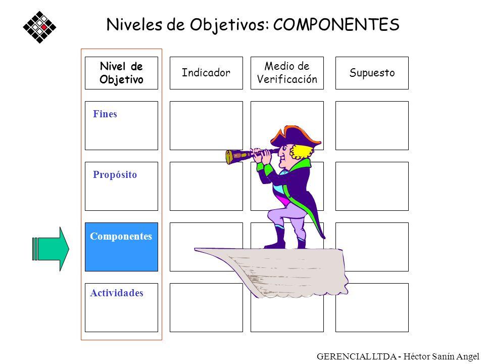 Medio de Verificación SupuestoIndicador Fines Propósito Componentes Actividades Niveles de Objetivos: COMPONENTES Nivel de Objetivo Sostenibilidad GER