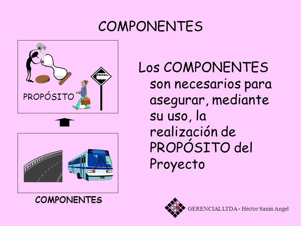 Los COMPONENTES son necesarios para asegurar, mediante su uso, la realización de PROPÓSITO del Proyecto GERENCIAL LTDA - Héctor Sanín Angel COMPONENTE