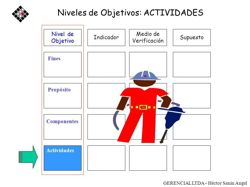 Medio de Verificación SupuestoIndicador Fines Propósito Componentes Actividades Niveles de Objetivos: ACTIVIDADES Nivel de Objetivo Sostenibilidad GER