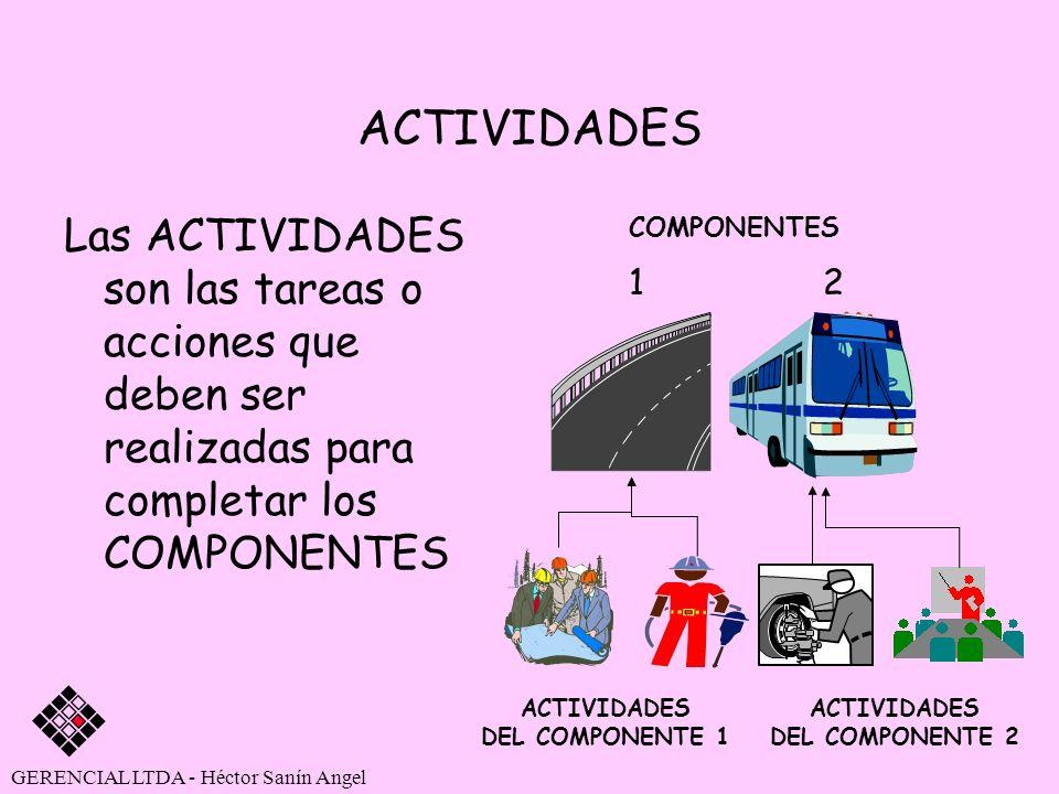 ACTIVIDADES Las ACTIVIDADES son las tareas o acciones que deben ser realizadas para completar los COMPONENTES GERENCIAL LTDA - Héctor Sanín Angel ACTI