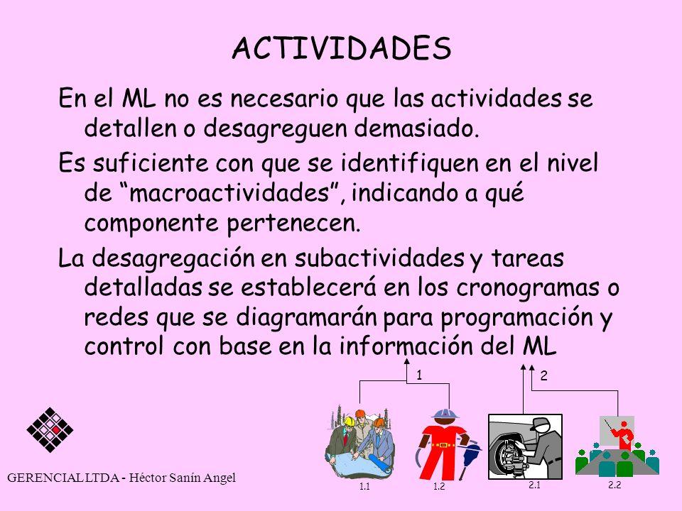 ACTIVIDADES En el ML no es necesario que las actividades se detallen o desagreguen demasiado. Es suficiente con que se identifiquen en el nivel de mac