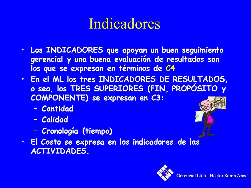Indicadores Los INDICADORES que apoyan un buen seguimiento gerencial y una buena evaluación de resultados son los que se expresan en términos de C4 En