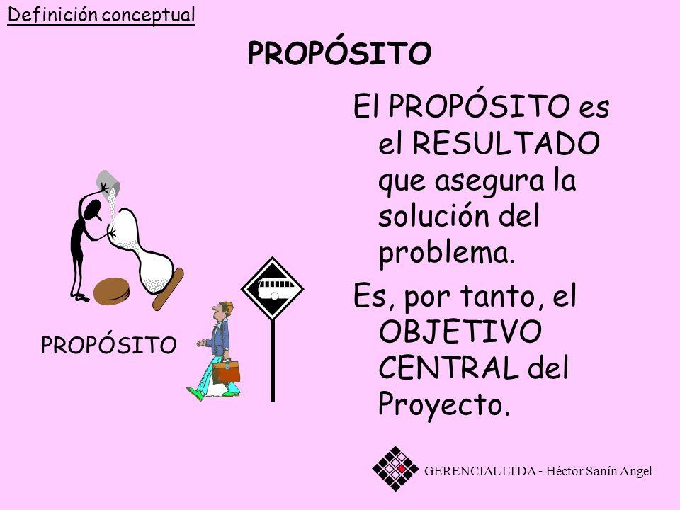 PROPÓSITO El PROPÓSITO es el RESULTADO que asegura la solución del problema. Es, por tanto, el OBJETIVO CENTRAL del Proyecto. GERENCIAL LTDA - Héctor