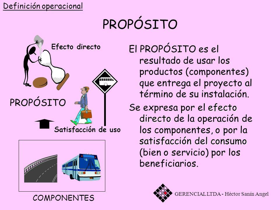 El PROPÓSITO es el resultado de usar los productos (componentes) que entrega el proyecto al término de su instalación. Se expresa por el efecto direct