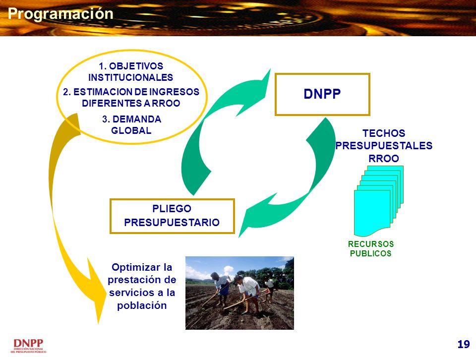 PLIEGO PRESUPUESTARIO DNPP 2. ESTIMACION DE INGRESOS DIFERENTES A RROO 3. DEMANDA GLOBAL TECHOS PRESUPUESTALES RROO RECURSOS PUBLICOS Optimizar la pre