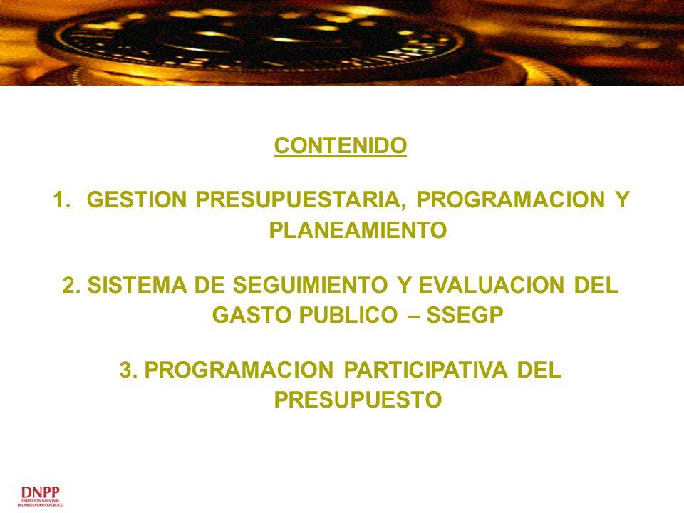 CONTENIDO 1.GESTION PRESUPUESTARIA, PROGRAMACION Y PLANEAMIENTO 2. SISTEMA DE SEGUIMIENTO Y EVALUACION DEL GASTO PUBLICO – SSEGP 3. PROGRAMACION PARTI