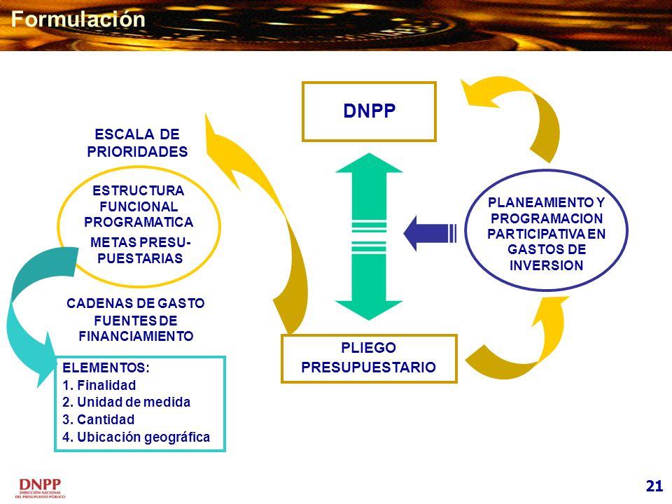 PLIEGO PRESUPUESTARIO DNPP ESTRUCTURA FUNCIONAL PROGRAMATICA METAS PRESU- PUESTARIAS ESCALA DE PRIORIDADES CADENAS DE GASTO FUENTES DE FINANCIAMIENTO