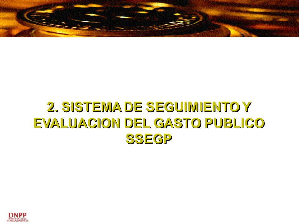 2. SISTEMA DE SEGUIMIENTO Y EVALUACION DEL GASTO PUBLICO SSEGP 2. SISTEMA DE SEGUIMIENTO Y EVALUACION DEL GASTO PUBLICO SSEGP