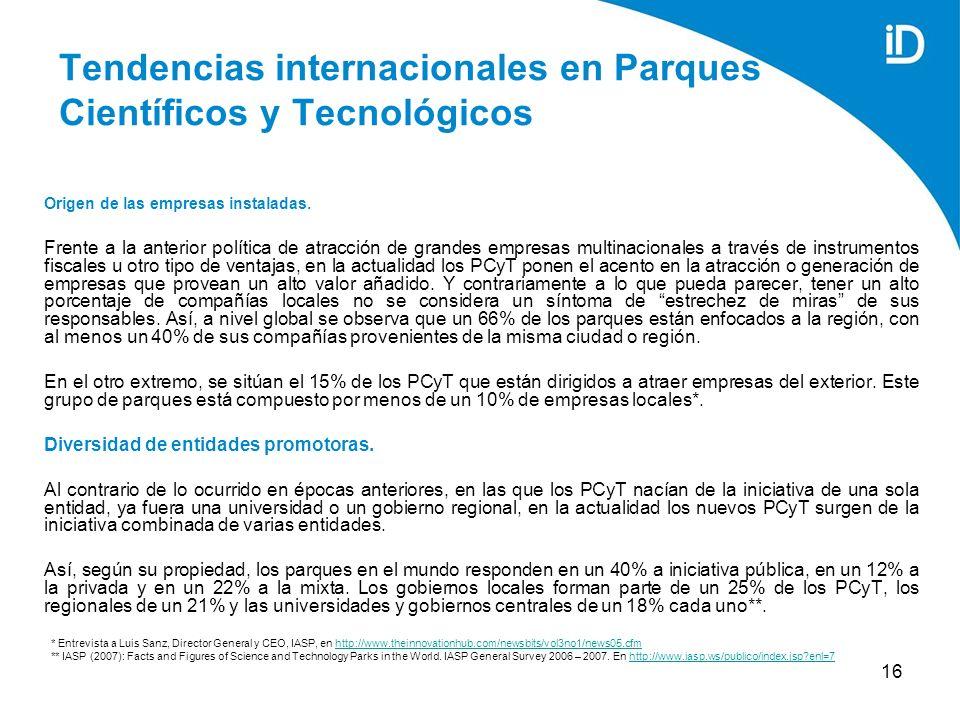 16 Tendencias internacionales en Parques Científicos y Tecnológicos Origen de las empresas instaladas.