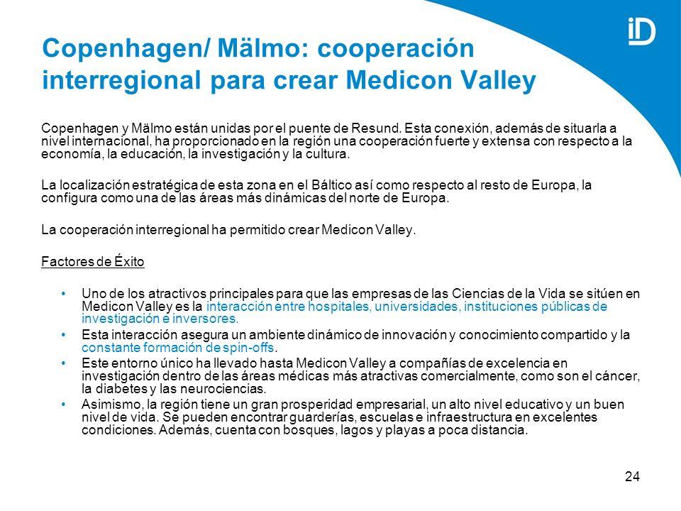 24 Copenhagen/ Mälmo: cooperación interregional para crear Medicon Valley Copenhagen y Mälmo están unidas por el puente de Resund.